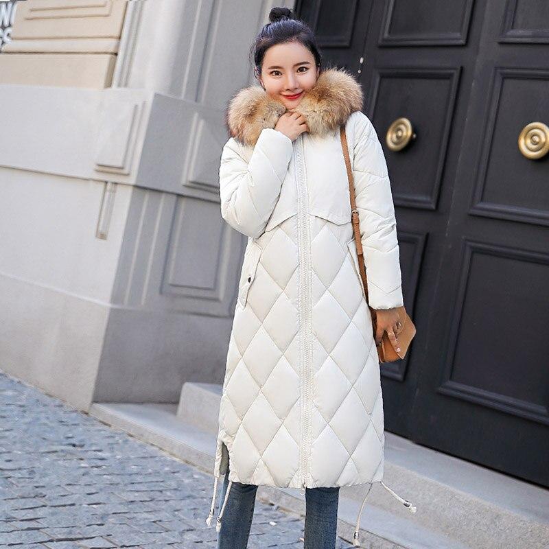 2019 New Fur Hooded Womens Jackets Winter Outwear Long Female Coat   Parka   Slim Arrival Winter Jacket Women with Colorful