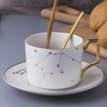 Mugs Tea Cup Ceramic Porcelain European Espresso Cups High Quality Tea Saucer Set Gold Luxury British Taza Wedding Decoration E6