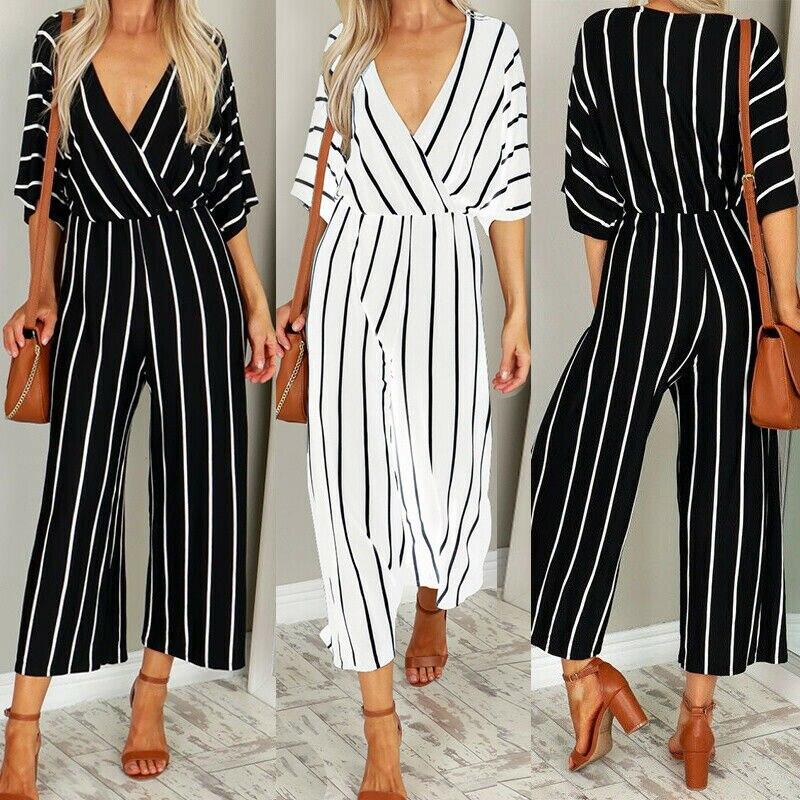 Women 3/4 Sleeve V Neck Striped Jumpsuit Loose Wide Legs PantsTrousers Office Ladies Jumpsuit Black White
