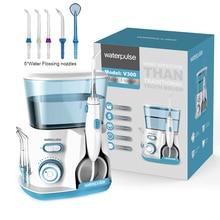 10 níveis de água oral flosser irrigador dental, 20 120psi v300g picareta de água + 5 bocais, 800ml ferramentas de higiene oral para dente limpo