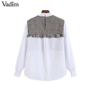 Image 2 - Vadim kadınlar zarif tüvit patchwork bluz uzun kollu ruffled yaka gömlek tatlı tiki tarzı kadın rahat chic tops LB708
