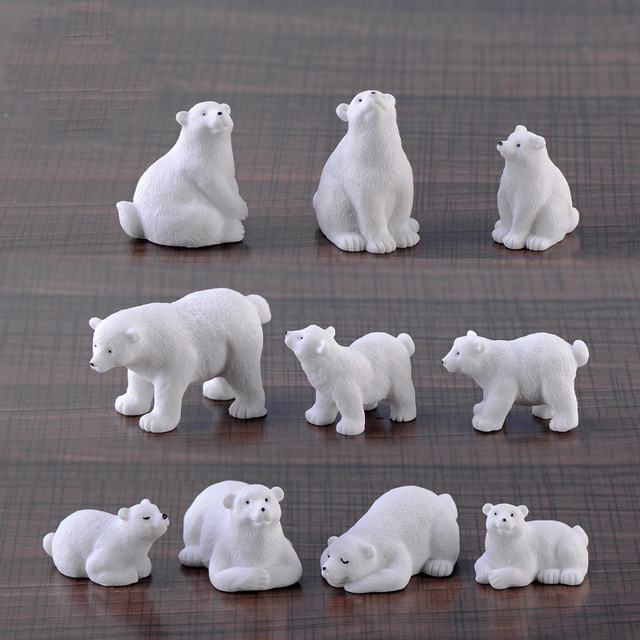 Modern nordic lovelyIns mini style polar bear home decoration living room accessories miniature fairy garden  resin figurine 3