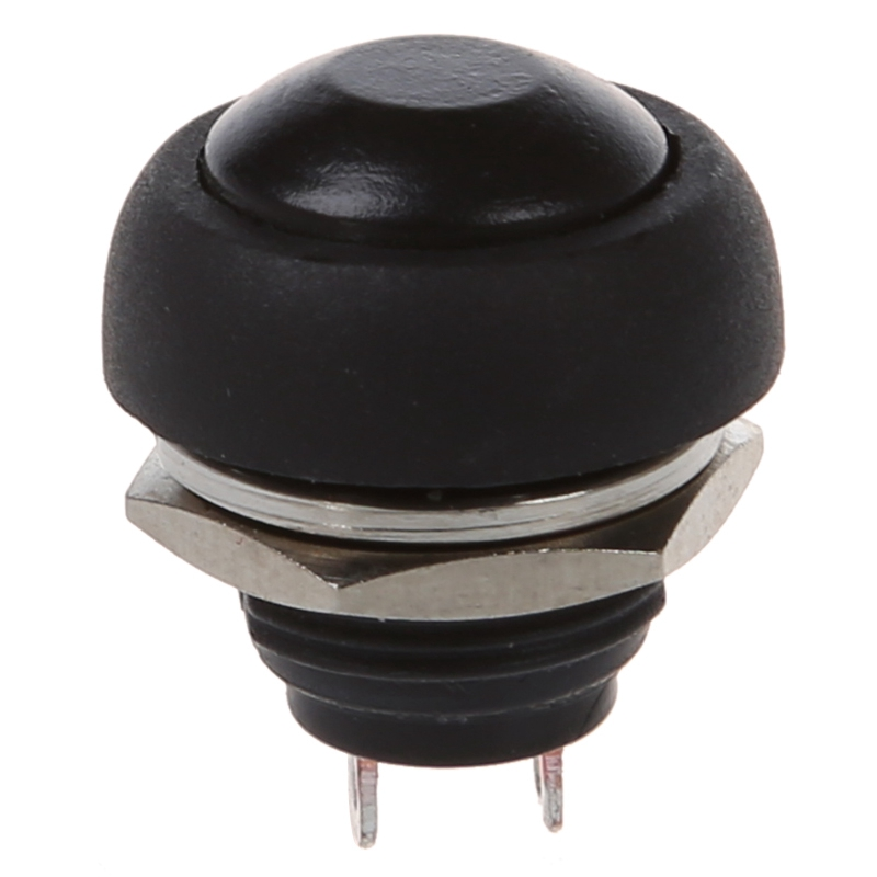 12mm Flush Mount SPST ON/OFF Momentary Black Round Push Button Switch 250VAC 3A