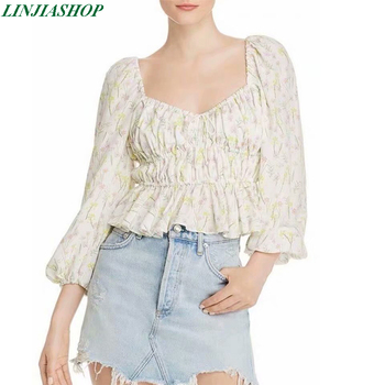For love and Lemons Strudel floral top tie adjustable square neck long puff sleeve summer print crop top new arrivals 2019 image