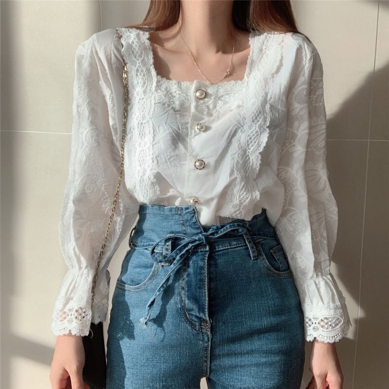 H540b3c65a40b412c94f8a3c70c0182f1I - Spring / Autumn Square Collar Flare Sleeves Hollow Out Pearl Buttons Blouse