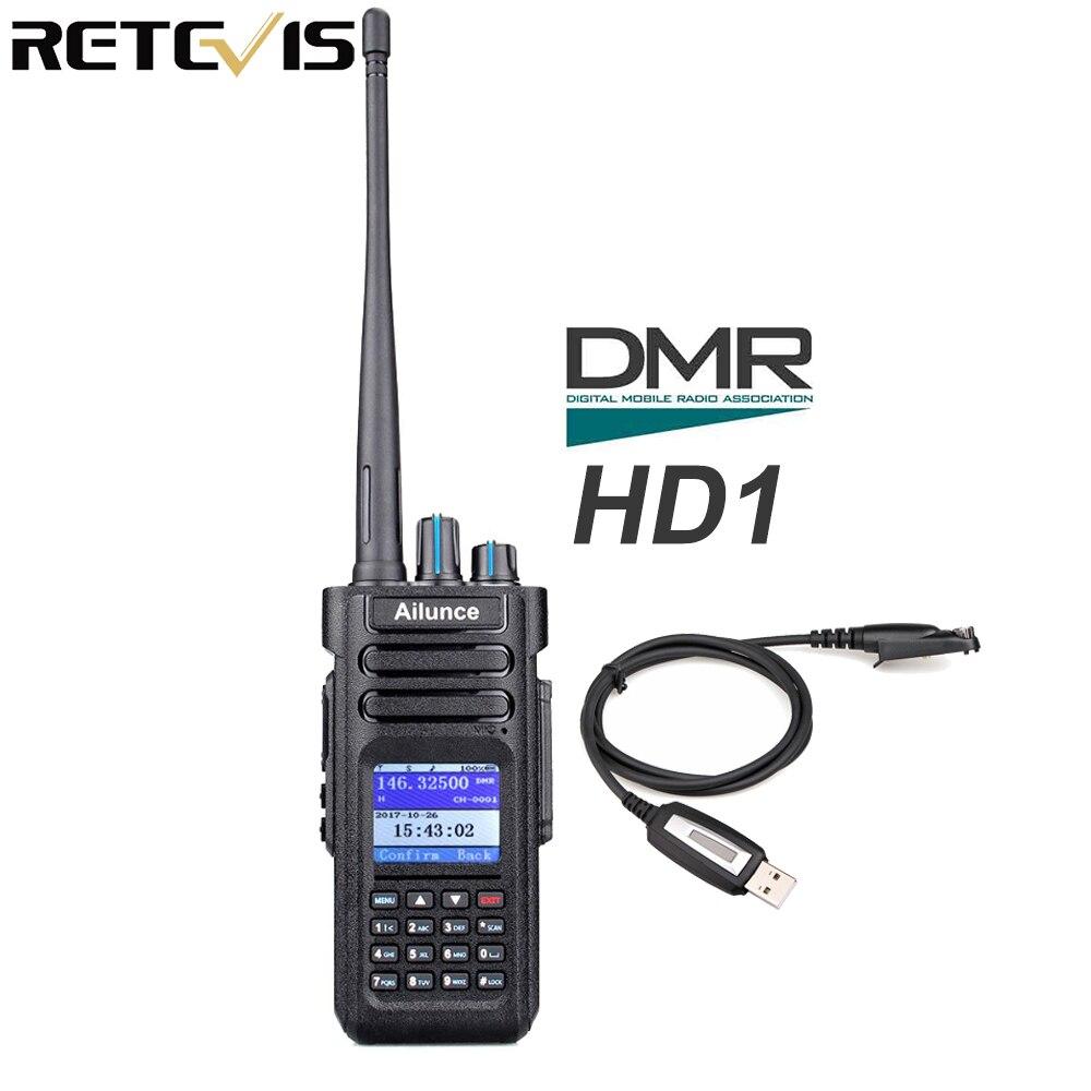 Retevis Ailunce HD1 Digital Walkie Talkie Dual Band DMR Radio DCDM TDMA UHF VHF Radio Station HF Transceiver With Program Cable