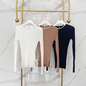 2020 Early Autumn New Super Elastic Solid Color Vertical Striped Pearl Collar Knitwear Women's Long Sleeve Bottom Shirt vertical striped flower embroidered frill shirt