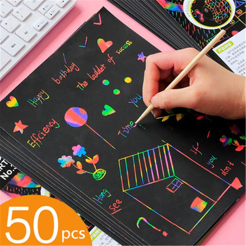 Scratch Art Set, 50 Piece Rainbow Magic Scratch Paper For Kids Black Scratch Off Art Notes Boards With 5 Wooden Stylus For Chris