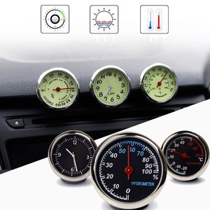 Car Luminous Clock Thermometer Hygrometer Internal Stick-On Dashboard Auto Interior Ornament Styling Accessories Gifts