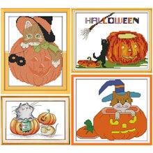 Набор для вышивки крестиком на Хэллоуин с изображением тыквы