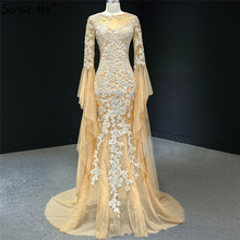 זהב בת ים ארוך שרוול דובאי ערב שמלות 2020 O צוואר ואגלי בעבודת יד פרחי פורמליות שמלת Serene היל HM67058