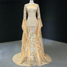 Vestido de noche de manga larga de sirena, dorado, Dubái, 2020, cuello redondo, cuentas, flores hechas a mano, Formal, Serene Hill HM67058
