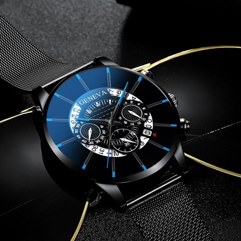 Men's Watch Reloj Hombre Relogio Masculino Stainless Steel Calendar Quartz Wristwatch Men Sports Watch Clock Geneva Clock hours