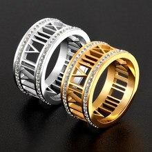 Moda duplo círculo brilhante jóias médio letdiffery numerais romanos anéis de data de casamento para mulher anel de amor de aço inoxidável