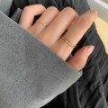 Для вечерних мероприятий закрытые тонкие со стразами указательный палец кольцо из стерлингового серебра бледно-Женская мода Личность Ins Яп...