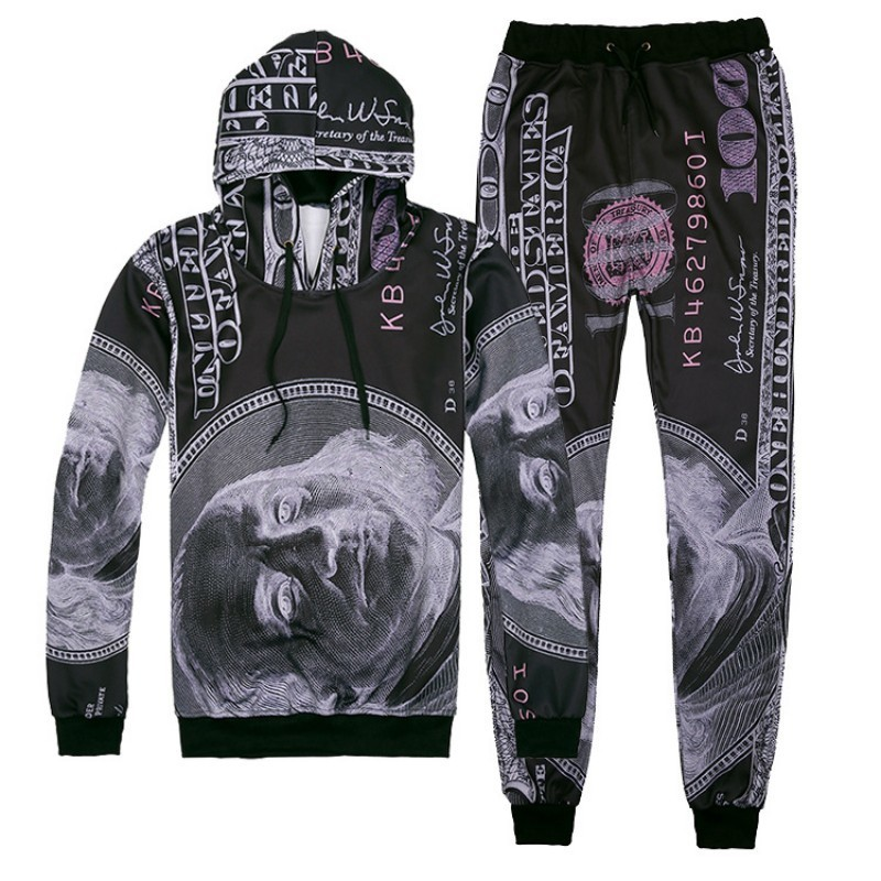 Spring Autumn Mens Harajuku Printed Outside Jogging Tracksuit Hoody Long Sleeve Two Piece Set Casual Hip Hop Suit Ropa Deportiva