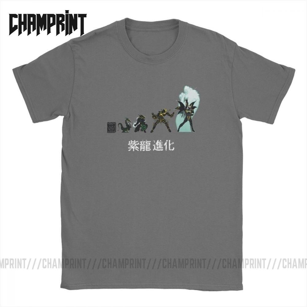 Men T Shirt Shiryu Evolution Unique Cotton Tee Shirt Short Sleeve Knights of the Zodiac Saint Seiya 90s Anime T Shirt Plus SizeT-Shirts   -