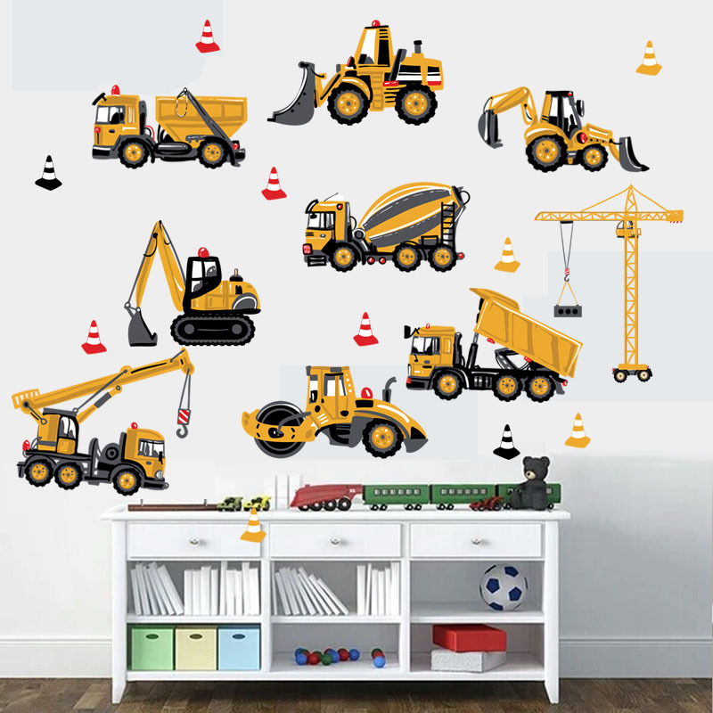 Cartoon Tractor Wall Stickers DIY Transport Cars Wall Art Decal Decoration for Kids Rooms Boys Girls Children Bedroom Home Decor