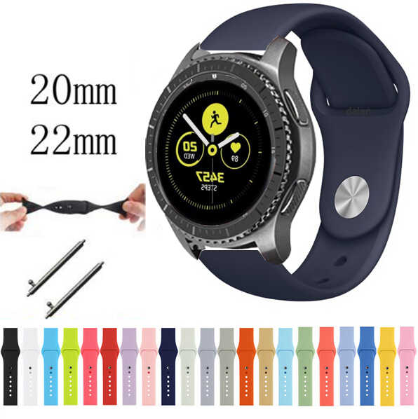 22mm 20 להקת עבור samsung ציוד ספורט s3 s2 קלאסי frontier Galaxy watch 46mm 42mm רצועת גומי huami amazfit gtr ביפ huawei gt 2