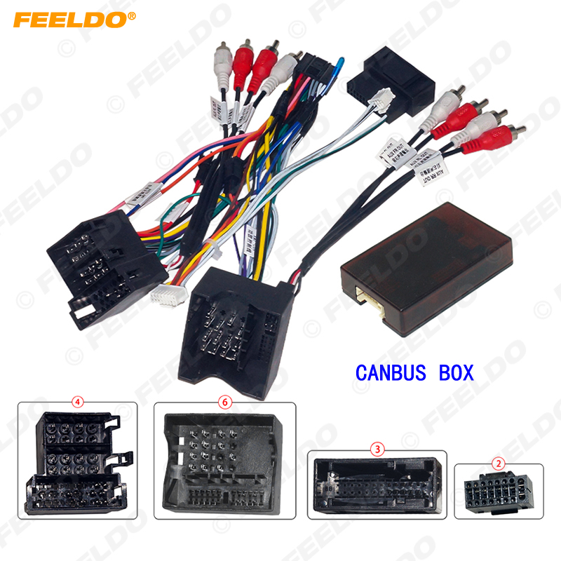 FEELDO Car Audio Android 16PIN Power Cable Adapter With Canbus Box For Audi 04-08 A3/A4/A6/TT Power Wiring Harness Radio Wire