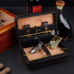 2020 Cohiba cuir étui à cigares Portable humidificateur cèdre bois voyage humidificateur humidificateur accessoires cubain (sans briquet cutter)