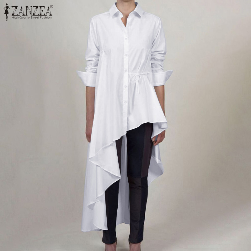 Fashion Women Asymmetrical Blouse 2020 ZANZEA Spring Lapel Neck Long Sleeve Shirts Vestido Plus Size High Low Blusas Solid Tops