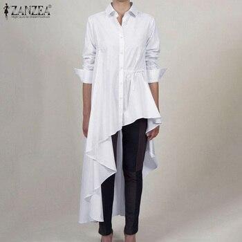 Fashion Women Asymmetrical Blouse 2020 ZANZEA Spring Lapel Neck Long Sleeve Shirts Vestido Plus Size High Low Blusas Solid Tops sweetheart neck plus size asymmetrical top