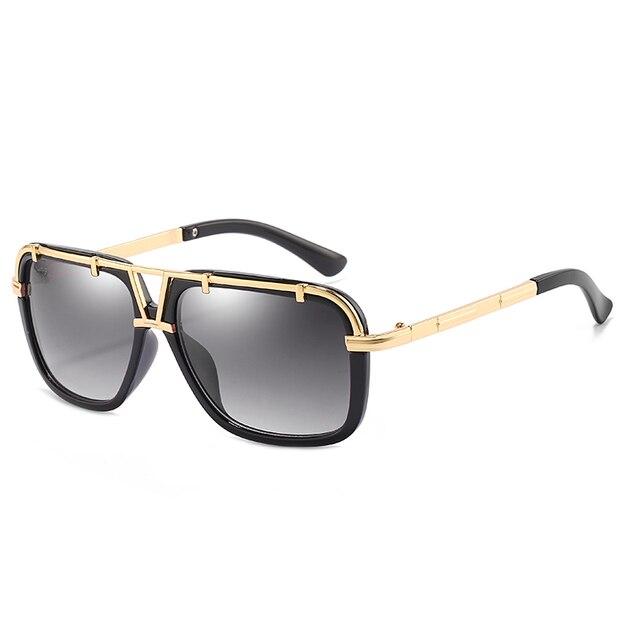 2020 Fashion Men Flat Top Sunglasses Classic Women Brand Designer Metal Square Sun Glasses UV400 Protection 1