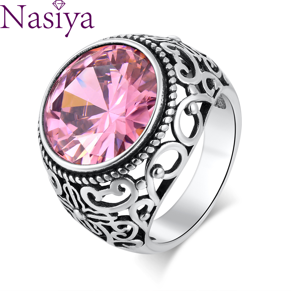 Big Vintage Silver Pink Stone Ring Engagement Ring For Women Wedding Bands Fashion Jewelry Valentine's Day Gift