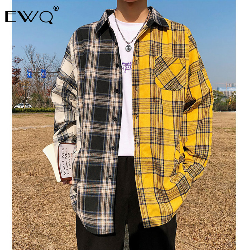 EWQ / 2020 Spring New Korean Plaid Shirts For Men Fashion Hit Color Patchwork Long Sleeve Casual Shirt Hip Hop Male Y0031