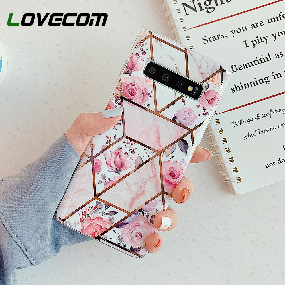 Pink Flower Phone Case For Samsung Galaxy A41 A51 A71 A50 A70 Note 10 Pro S10 Plus Electroplated Soft Back Cover Coque