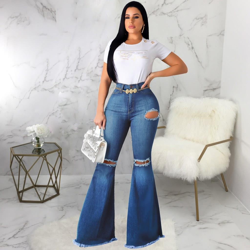 Nice Women Casual Hole High Waist Zipper Flare Jeans Streetwear Solid Skinny Pants Slim Ripped Full Length Jeans