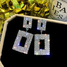 Квадратные висячие серьги ustar с кристаллами для женщин эффектные