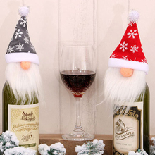 Hat Wine-Bottle-Cover Dinner-Table Christmas Decor Merry-Xmas Doll-Bag Ornament Party