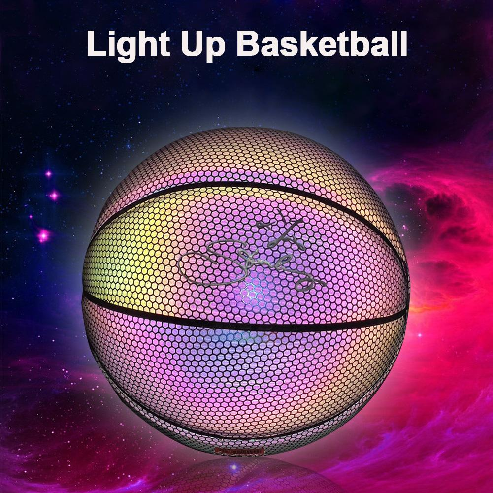 Basketball Light Up Ball Battery-Free PU Glow In The Dark Basketball Fluorescent Bright After Sun Shine Weight Size 7 Light-up