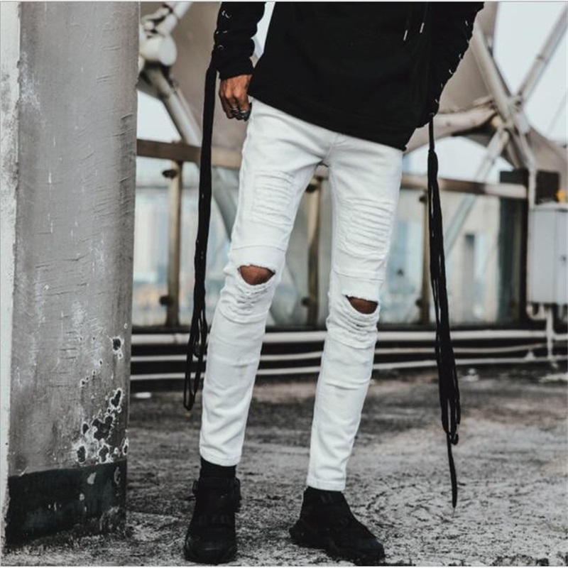 New Style Men Jeans White denim Ripped For 100% Cotton Knees Holes High Quality Fashion #Y820