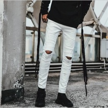 New Style Men Jeans White denim Ripped Jeans For Men 100% Cotton Knees Holes High Quality Fashion Men Jeans #Y820 extreme distressed knees jeans