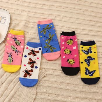 Happy Socks Womens Printed Cartoon Butterfly Pineapple Bees Cotton Comfortable Funny Men Fashion funny slippers