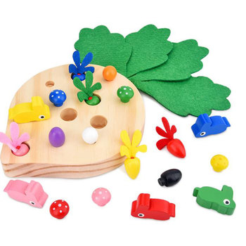 Bunny Pulls Up Radish to Eat Wooden Toys for Child Color Shape Studying Educational Interactive Puzzle Toys Birthday Gift simingyou wooden toys puzzle color toy for color exerciseand shape identification exercise drop shipping