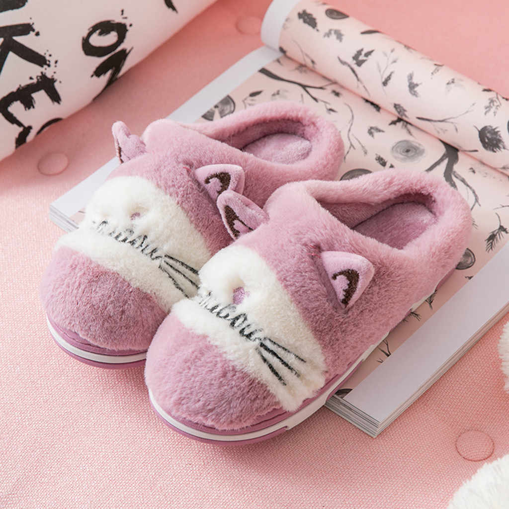 2019 New Lovely Women Flip Flop Cute cat Shape Home Floor Soft Stripe Slippers Female Shoes Girls Winter Spring Warm Shoes