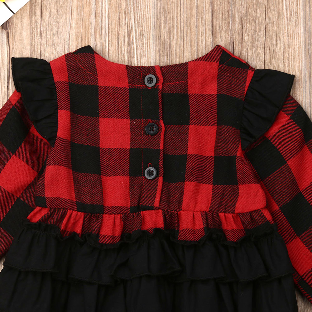 0 18M Infant Newborn Baby Girls Christmas Rompers Red Black Plaid Long Sleeve Ruffles Jumpsuit Xmas Baby Costumes Autumn New in Rompers from Mother Kids