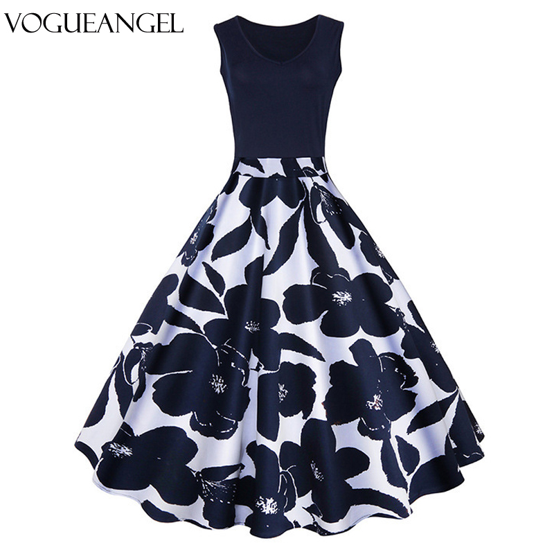 Women Summer <font><b>Dress</b></font> Floral Print Retro <font><b>Vintage</b></font> <font><b>1950s</b></font> <font><b>60s</b></font> Casual Party Office Robe Rockabilly <font><b>Dresses</b></font> Plus Size Vestido Mujer image