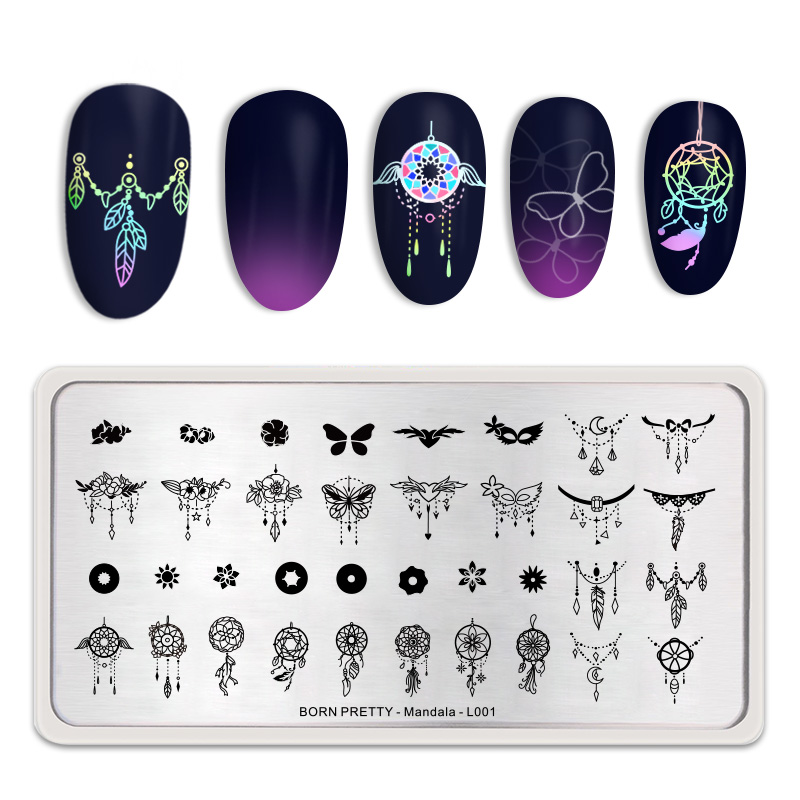 <font><b>BORN</b></font> <font><b>PRETTY</b></font> Stamping Plates Flowers Butterfly Pattern Rectangle Stainless Steel Nail Art Image Stamp Template Mandala Theme <font><b>L001</b></font> image