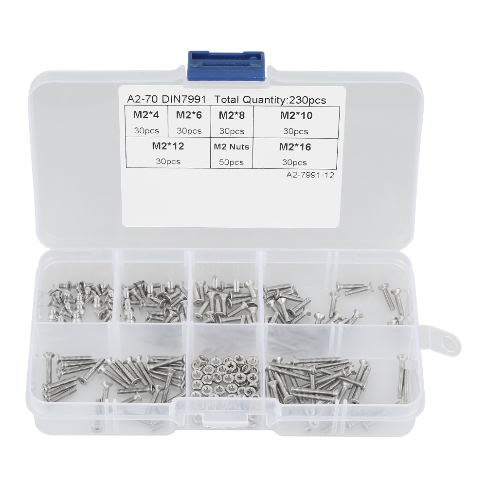 230pcs M2 304 Stainless Steel Flat Head Bolt Tapping Screws Nuts Assortment Kit Screw Bolts and Nuts Set with Box