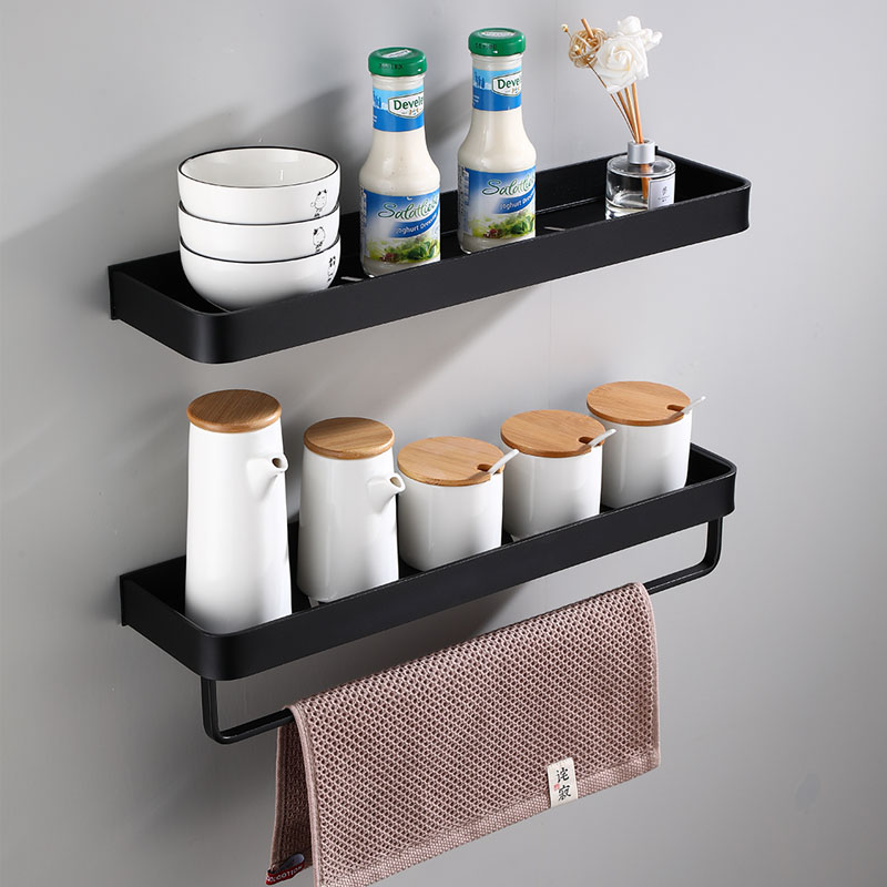 Bathroom Shelf Bath Shower Shelf With Bar Aluminum Black Bathroom Corner Shelf Wall Mounted Satin Kitchen Storage Holder