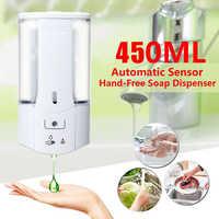 Distributeur de savon liquide intelligent d'induction infrarouge de distributeur de savon automatique fixé au mur de 450mL pour l'accessoire de salle de bains de cuisine