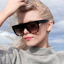 TOYEARN Fashion Flat Top Oval Sunglasses Women Bran