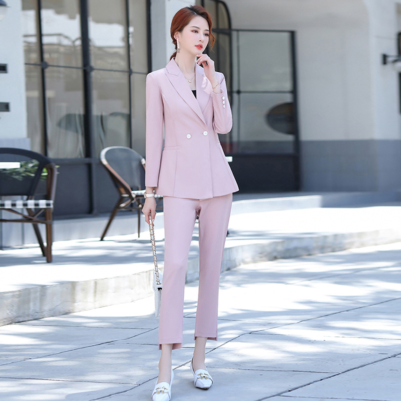 2020 new autumn and winter women's professional suit pants two-piece suit Casual double breasted ladies jacket Slim trousers