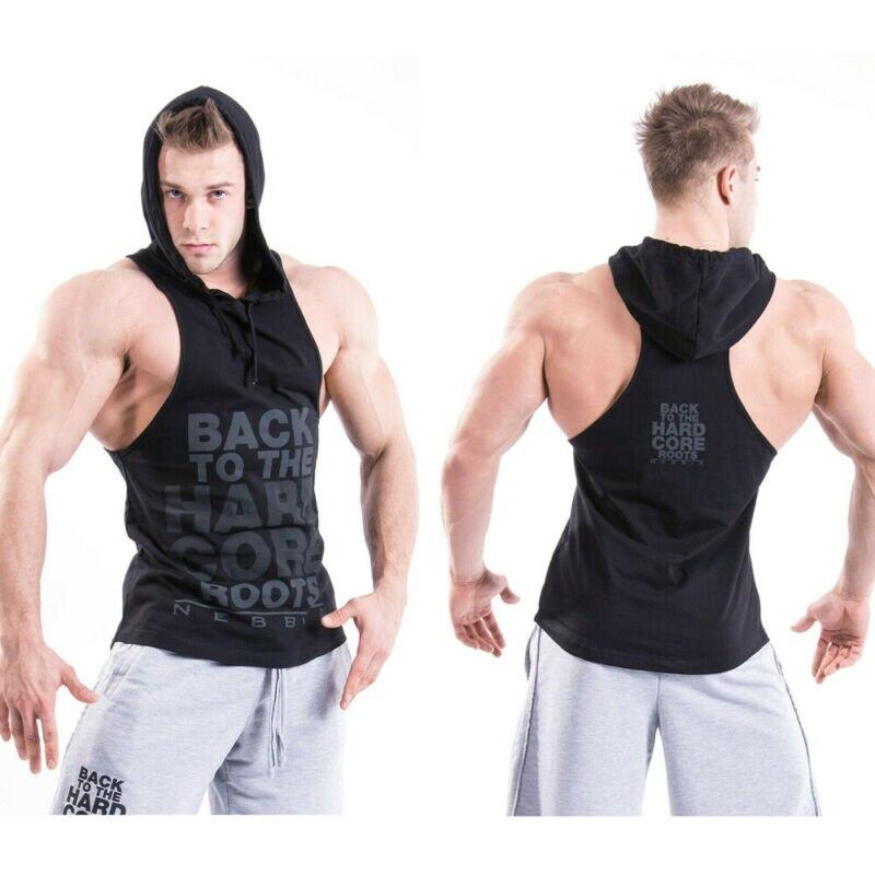 2019 Fashion Men Casual Hoodie Sports Gym Muscular Fitness Bodybuilding Crew Sweatshirts Basic Tops Hot Sale