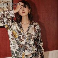 CHEERART High Fashion Floral Satin Blouse Women Lapel V Neck Long Sleeve Shirt Lazy Ladies Tops High Quality Blouse Fall 2019 v neck slit sleeve high low blouse
